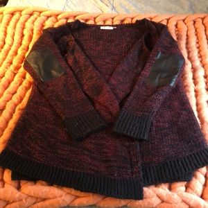Open front burgundy and black Cardigan